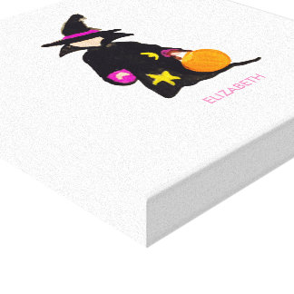 Trick or Treat Custom Name Halloween Toddler Witch Gallery Wrapped Canvas