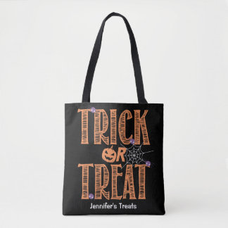 Trick or treat Cute Spiders and Halloween Pumpkin Tote Bag