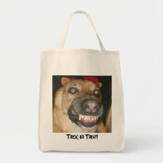 Trick or Treat Dog! Grocery Tote Bag