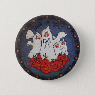 Trick or Treat Ghost Button Pin