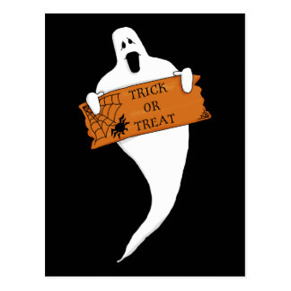 Trick or Treat Ghost Halloween Drawing Postcards
