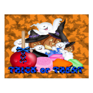 Trick or Treat Ghost Pumpkins Postcards