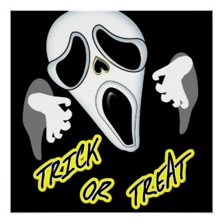 Trick Or Treat Ghostly Halloween Fun Graphic Poster