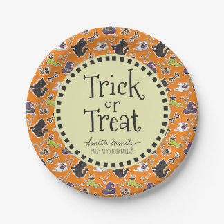 Trick or Treat. Ghosts Bones Cats and Skulls. 7 Inch Paper Plate