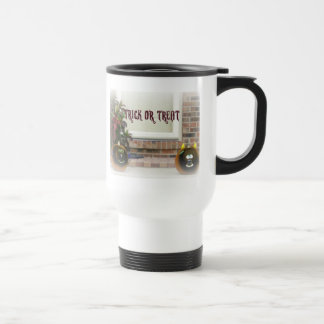 Trick or Treat Ghoul Pumpkins in White Matte 15 Oz Stainless Steel Travel Mug