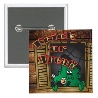 Trick or Treat Green Halloween Frankenstein 15 Cm Square Badge