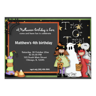 Trick or Treat Halloween Birthday 13 Cm X 18 Cm Invitation Card