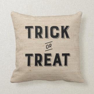 Trick or Treat Halloween Burlap Pillow