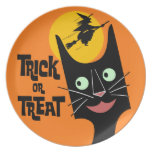 Trick or Treat Halloween Cat Plate