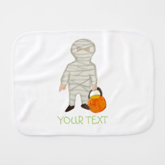 Trick or Treat Halloween Custom Name Zombie Mummy Baby Burp Cloth