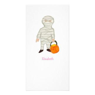 Trick or Treat Halloween Custom Name Zombie Mummy Photo Cards