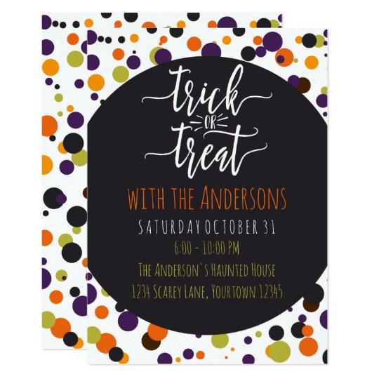 Trick or Treat Halloween Custom Party Invitations