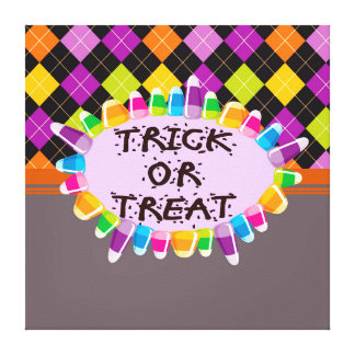 Trick or Treat Halloween Design Stretched Canvas Prints