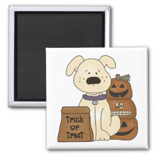 Trick Or Treat Halloween Dog Square Magnet
