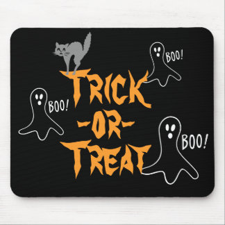 Trick-or-Treat Halloween Ghost Cat Mouse Mat