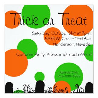 "Trick Or Treat   Halloween Invites 5.25"" Square Invitation Card"