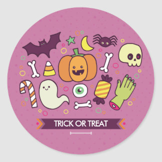 Trick Or Treat. Halloween Monsters. Classic Round Sticker