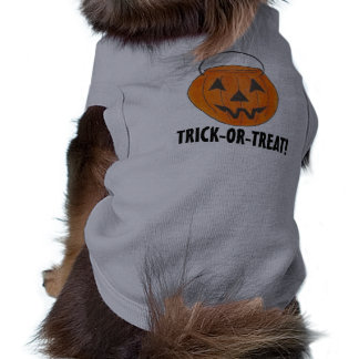 Trick or Treat Halloween Orange Pumpkin Bucket Tee Sleeveless Dog Shirt