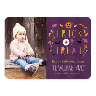 Trick Or Treat Halloween Photo Card
