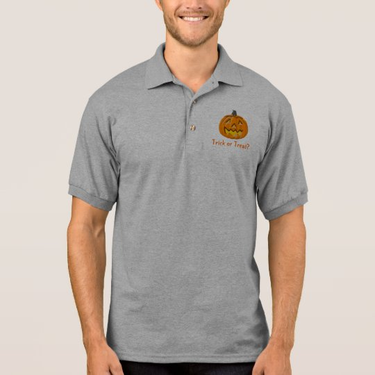 Trick or Treat Halloween Pumpkin Mens Polo Shirt