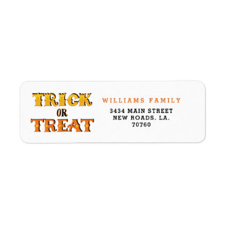 Trick or Treat Halloween Return Address Label