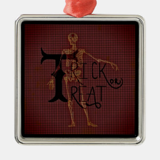 Trick or Treat Halloween Skeleton Grim Collage Christmas Ornament