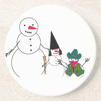 Trick or Treat Halloween Snowmen Beverage Coasters