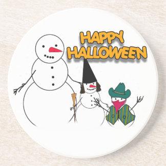 Trick or Treat Halloween Snowmen Drink Coaster