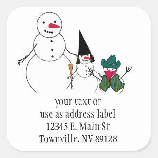Trick or Treat Halloween Snowmen Square Sticker