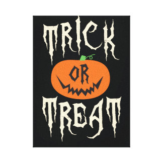Trick or Treat Halloween Wall Art Stretched Canvas Prints