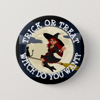 TRICK OR TREAT Halloween Witch Humor BUTTON