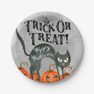 trick or treat happy halloween spider paper plate