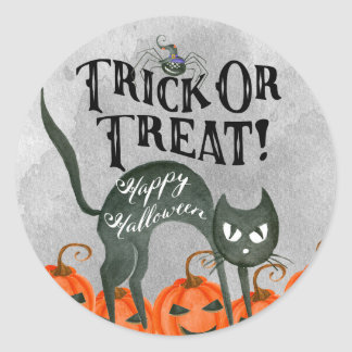trick or treat happy halloween spider sticker