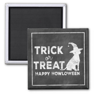 Trick or Treat, Happy Howloween Doggie Witch Vint Square Magnet
