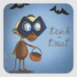 Trick or Treat Masked Monkey Bats Square Stickers