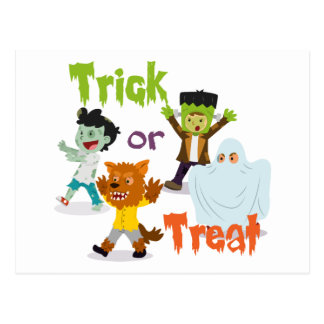 Trick or Treat Monster Costume Kids Postcard