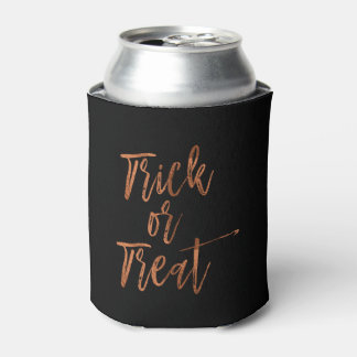 Trick or Treat Orange and Black Halloween Can Cooler