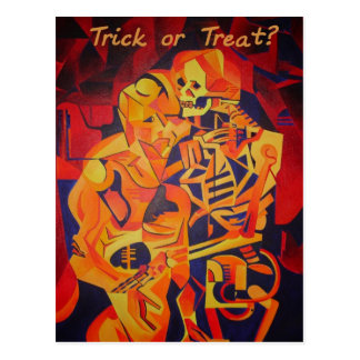 Trick or Treat Skeleton Greeting Card Post Card