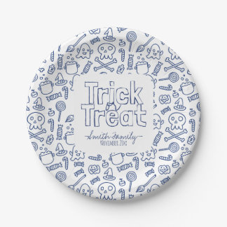 Trick or Treat Skulls Ghosts Witches and Candy 7 Inch Paper Plate