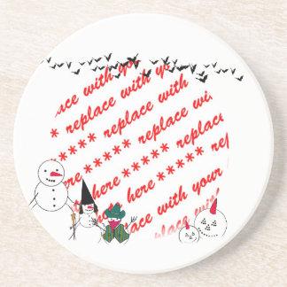 Trick or Treat Snowmen Photo Frame Beverage Coaster