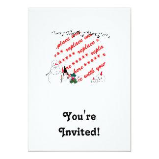 "Trick or Treat Snowmen Photo Frame 5"" X 7"" Invitation Card"