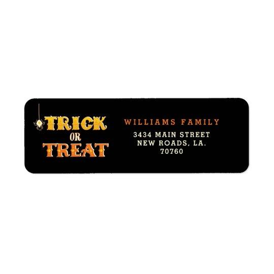 Trick or Treat Spider Halloween Return Address Label