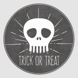 Trick or Treat. Spooky Skull. Classic Round Sticker