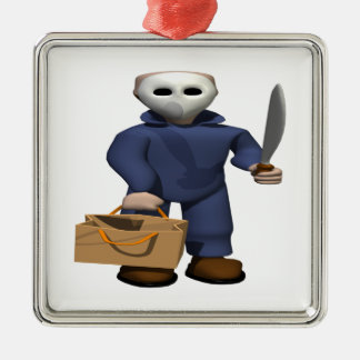 Trick Or Treat Stalker Silver-Colored Square Decoration