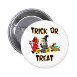 Trick Or Treat (Trick-Or-Treaters With Dog) Pinback Buttons