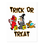 Trick Or Treat (Trick-Or-Treaters With Dog) Postcards