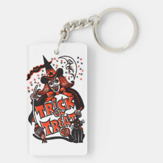Trick or Treat Witch Halloween (vintage) Double-Sided Rectangular Acrylic Key Ring
