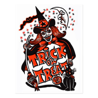 Trick or Treat Witch Halloween (vintage) Postcard