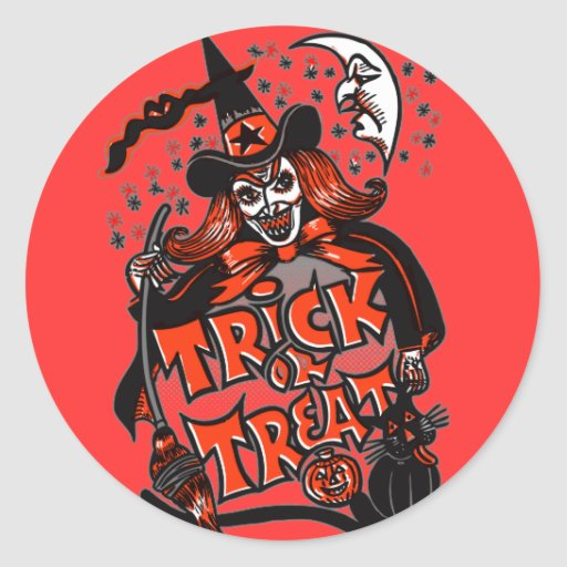Trick or Treat Witch Halloween (vintage) Stickers