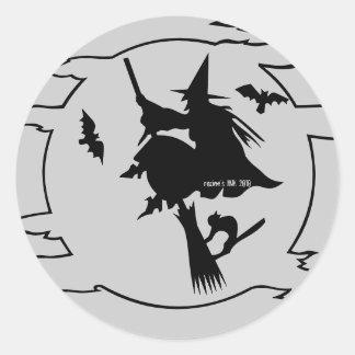 Trick or Treat Witch on Broom w/ Bats + Black Cat Classic Round Sticker